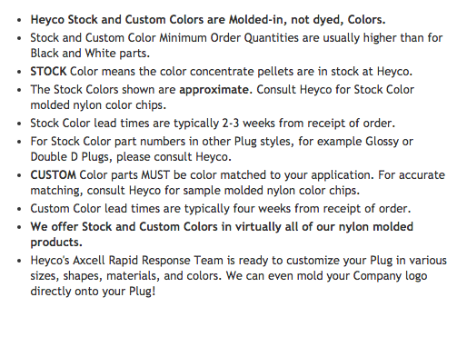 Heyco-R-_Stock_and_Custom__Colors_for_Dome_Plugs_and_Shorty_Plugs