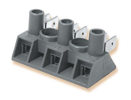 Schraub-Klemmleisten, Flachsteckerverbinder, Verbinderblock Polyamid / galv. Stahl