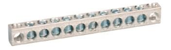Aluminium 10-fold row connector, screwable Copper/aluminium with stainless steel screw